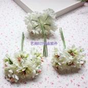 Цветы из ткани d 3,5см крем 6шт