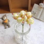 Цветы из ткани бутон d 2см шампань 6шт