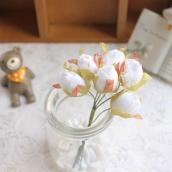Цветы из ткани бутон d 2см белый 6шт
