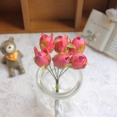 Цветы из ткани бутон d 2см т.розовый 6шт