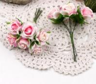 Цветы Розы из ткани d3см нежно розовые 6шт