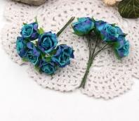 Цветы Розы из ткани d3см бирюзово-фиолетовые 6шт