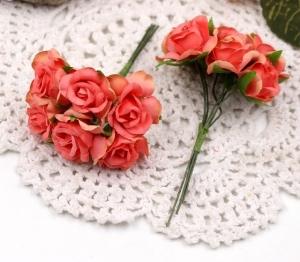 Цветы Розы из ткани d3см коралловые 6шт