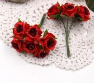 Цветы Розы из ткани d3см бордово-красные 6шт