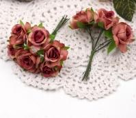 Цветы Розы из ткани d3см бордово-розовые