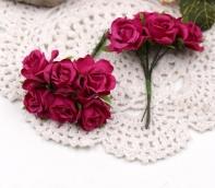 Цветы Розы из ткани d3см фуксия  6шт