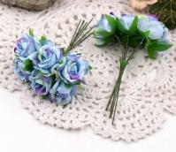 Цветы Розы из ткани d3см лилово-голубые 6шт