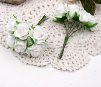 Цветы Розы из ткани d3см белые 6шт