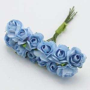 Цветы розочки бумажные голубые  букетик 12шт   2см