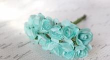 Цветы розочки бумажные мятные букетик 12шт   2см