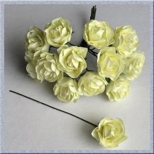 Цветы розочки бумажные кремовые букетик 12шт   2см
