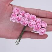 Цветы розочки бумажные розовые букетик 12шт   2см
