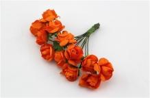 Цветы розочки бумажные оранжевые букетик 12шт   2см