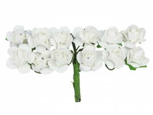 Цветы розочки бумажные белые букетик 12шт   2см