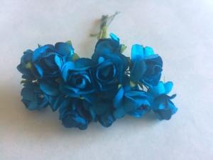 Цветы розочки бумажные синие букетик 12шт   2см