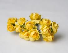 Цветы розочки бумажные желтые букетик 12шт   2см