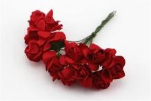 Цветы розочки бумажные красные букетик 12шт   2см