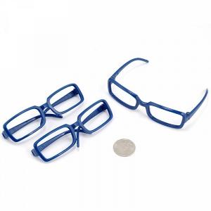 Очки без стекла синий 8см прямоугольные пластик