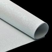 Фоамиран глиттерный 2 мм  цв.белый, 20х30 см