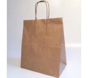Крафт пакет бурый с крученными ручками, 26*15*35(в) см