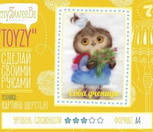 """Набор для изготовления картины шерстью Toyzy  """"Сова ученица"""" А4"""