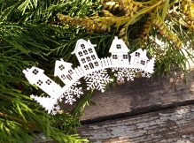 Чипборд Домики со снежинками