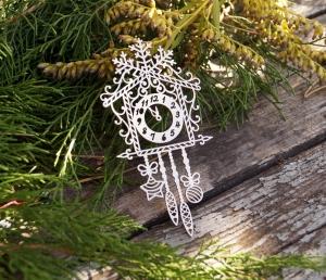 Чипборд Часы со снежинкой
