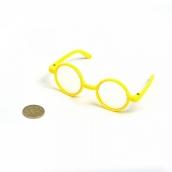 Очки со стеклом  желтые 8см диам.3см круглые  пластик