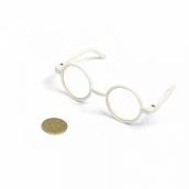 Очки со стеклом пластик, круглые цв.белый 8см O3см