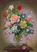 Алмазная живопись Букет в стеклянной вазе 30*40см