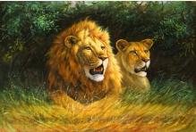 Алмазная живопись Львы 30*40см