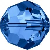 """Бусины стеклянные """"Сваровски""""  4 мм 1шт  кристалл т.голуб."""