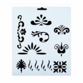Трафарет, растительный орнамент, элементы рисунка, 25.5x20.5 см, плаcтиковый