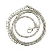 Цепочка с карабином  50см цв.никель, в стиле Pandora