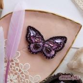 """Брошь. Набор для вышивки бисером украшения на натуральном художественном холсте """"Лиловый взмах"""""""