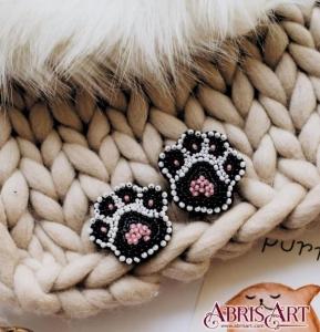 """Брошь. Набор для вышивки бисером украшения на натуральном художественном холсте """"Лапки"""""""