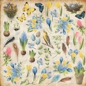 """Лист с картинками для вырезания. Набор """"Botany Spring"""""""