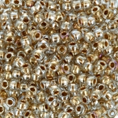 Бисер Япония  11/0 круглый 4 2.2 мм 5 х 5 г 0989 прозрачный с золотым центром