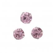 Стразы пришивные в цапах стекло цв.светло-розовый 8 мм