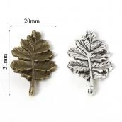 Металлическая подвеска Лист 20*31мм цв. серебро