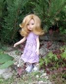 Платье вязаное на куклу Paola Reina сиреневое