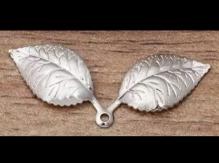 Металлическая подвеска Лист двойной 13*32мм цв. серебро