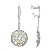 Серьги длинные из серебра с золочением, серебро 925