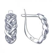 Серьги из серебра с фианитами, серебро 925 Вставка :Фианит Цвет вставки: Белый