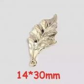 Металлическая подвеска Лист 14*30мм цв. золото