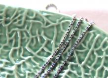 Стразовая лента на серебре 2мм цв.аметист с покрытием 1 ярд