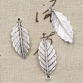 Металлическая подвеска Лист 31*12мм цв. серебро