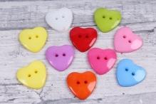 Набор пуговок пластик Сердце 14*15мм 10шт микс