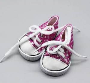 Кеды на шнурках пурпурные с пайетками 7см