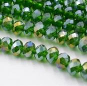 Бусины стекло 3*4мм цв.изумруд  145шт. с покрытием AB Color Plated